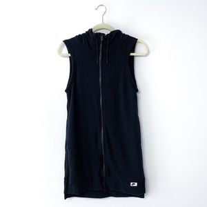 Nike Black Sleeveless Hooded Sweatshirt Zip Dress